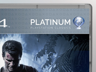 PlayStation 4 Platinum Case Detail mock-up boxart silver icons logo videogames concepts branding packaging gaming ps4 playstation