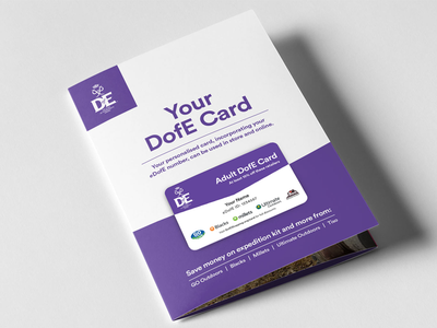 Duke of Edinburgh's Award Reward Card charity reward card purple a5 print card reward leaflet print design