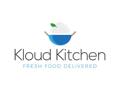 Kloud Kitchen Logo Concept vector illustration food curry kitchen logo cloud logo brand concept branding corporate branding identity blue cloud kitchen logo