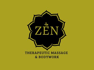 Zen massage logo green buddhist lotus outlines om breeserif type hippie x2 justified