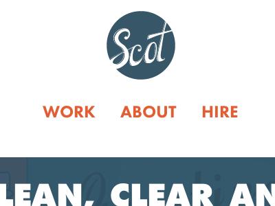 Responsive portfolio responsive blue logo futura white space orange browser screenshot