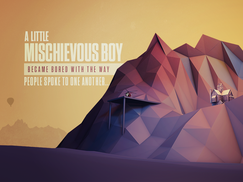 Ruckus In The Middle Of Nowhere typography abstract low poly lowpoly mountains cinema 4d