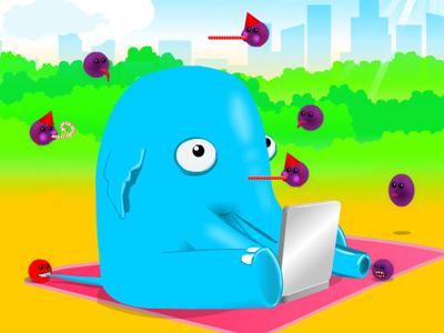 Alfred's battle against malware internet safety 2d kids game flash illustration
