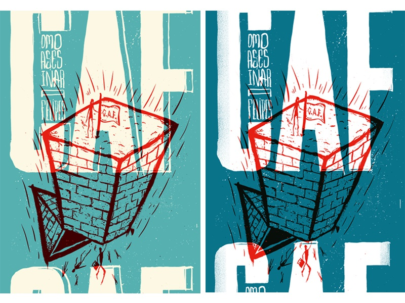 Como Asesinar A Felipes - full gig poster show concert illustration ink brushes