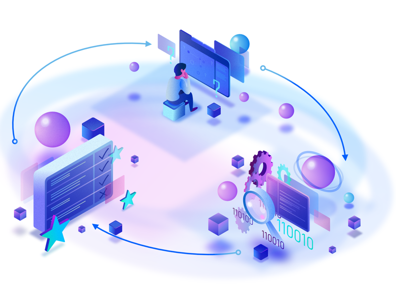 Problem solving process gradient purple gradient binary code person purple process flow problem solving process it process it illustration coding code affinity designer blue