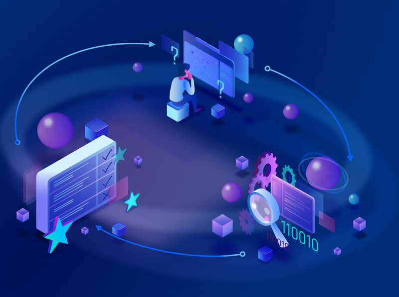 Problem solving process - dark problem person affinity designer purple process problem solving it process it illustration gradient coding code blue
