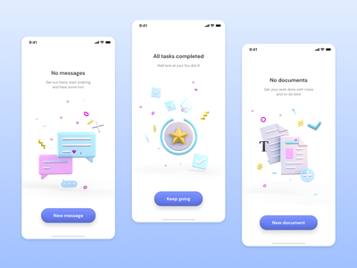 Empty state illustrations no documents no message 3d models vectary uiux 3d illustration yellow pink blue pastel empty screen mobile app empty state 3d design illustration ui
