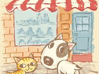 Puppy And Kitten On The Street