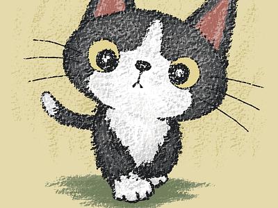 Black kitten walking kitten characters illustration pets cats