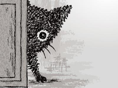 Kitten behind a door