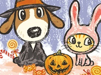 Dog And Cat At Halloween