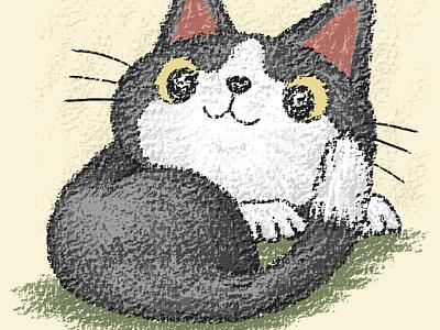 Black kitten curled up animal pet kitten characters illustraion vector