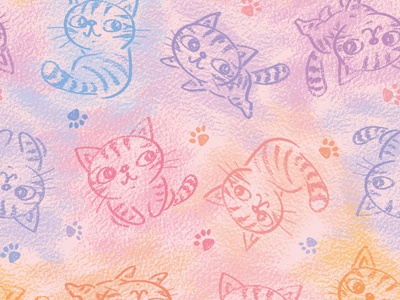 Chalk drawing of cats pattern