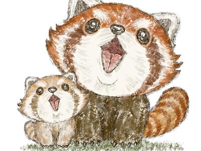 Red panda family singing cute animals illustration character panda red panda