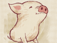 Cute pig happy