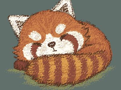 Red panda sleeping panda illustration vector pets characters zoo animals red panda