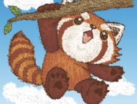 Red panda hanging