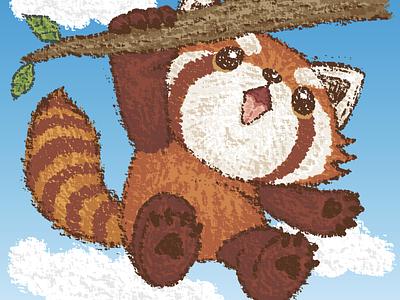 Red panda hanging panda red panda animal illustration characters vector