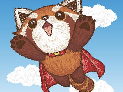 Red panda superhero panda pet animal illustration characters vector
