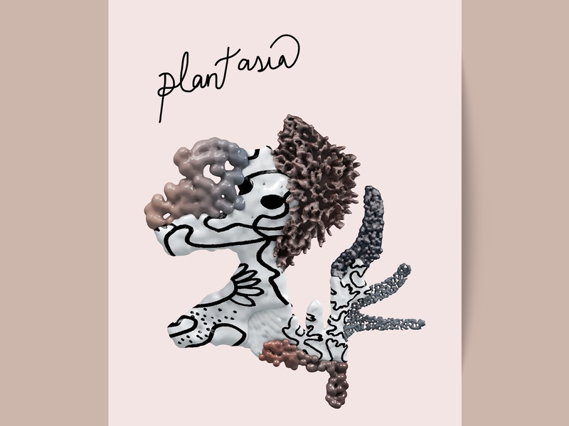 Postcard from Imagination hybrid coverdesign type typography plantasia design illustration cinema4d 3ddesign