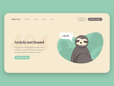 404 Error Page page not found vector error page error 404 website design branding leaves sloth error flat web ux ui illustration
