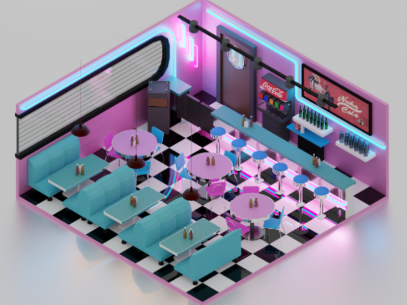 American Diner (Day Version) blender reflections coca cola day neon isometric american 3d