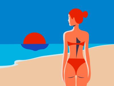 Beach please swimsuit woman summer beach digital illustration minimal illustration digital art minimal illustration