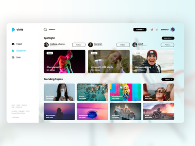 Vivid discovery update interface video website concept website design webdesign minimal