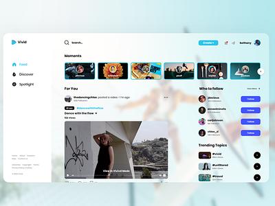 Vivid Home Page user interface design ui design website design social media video platform video player website concept minimal
