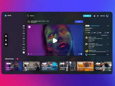Vivid Mode video platform video player ui design user interface website design website concept digital art