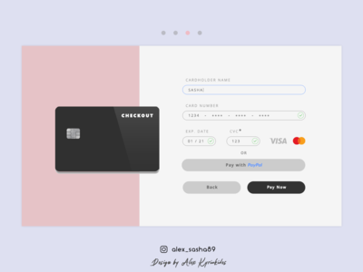Daily UI Checkout Form By Alex credit card payment credit card form checkout page checkout checkout form dailyui 002 ux ui challange ui design dailyui challenge dailyui