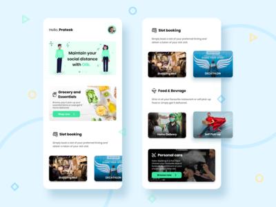 Slot Booking App UI - Sosio booking app covid-19 website flat mobile design branding minimal app ux ui