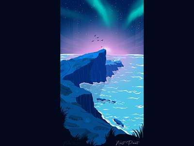 Neist Point Illustration aurora aurora borealis neist point neistpoint artworks landscapes england scotland lineart landscape vectorart design artwork wallpaper illustration design art art digitalart
