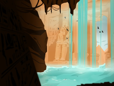 Lost Temple of Egypt vector landscape architecture waterfall water illustration artwork illustration art landscape illustration building landscape tempe egypt