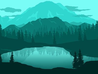 Mountain Lake water lake wallpaper vectorart vector landscape illustration landscape design landscape illustration art desgin lineart illustration digitalart design art art
