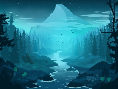 Blue forest forest river winter water croatia vectorart vector desgin wallpaper lineart landscape illustration landscape digitalart design art art illustration