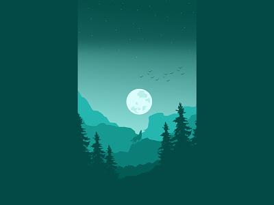 Wolf and the moon artwork wallpapers illustration art croatia vectorart vector wallpaper lineart landscape illustration landscape digitalart design art art illustration