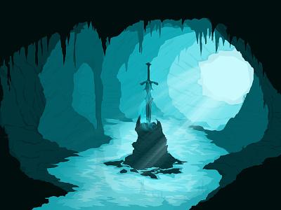 Excalibur sword water cave dark history game king avalon fanart fantasy excalibur design vectorart vector wallpaper lineart digitalart design art art illustration