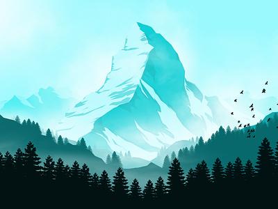 Mountain  Horn winter snow birds vectorillustration creative artistic forest colors flatcolors artwork mountain landscape illustration landscape vector wallpaper digitalart art illustration