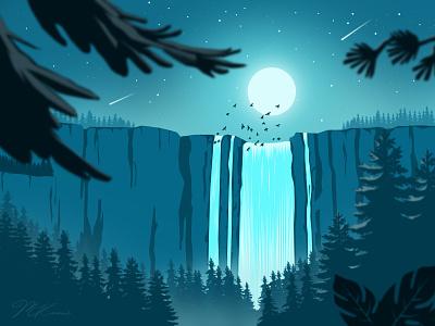 Hidden Waterfall creative waterfall design artwork landscape illustration vectorart landscape design art lineart wallpaper digitalart art illustration