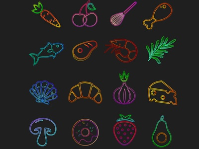 Icons design design artwork vectorart vector digitalart art iconset food illustration food and drink illustrator icons design food icons
