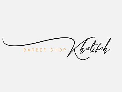 Khalifah barber shop signature logo design art logos signature ideas designing create creative logodesign barber shop logo design digitalart art