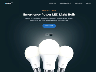 eBulb – emergency power LED animation ecommerce webflow ux layout figma product bulb dark landing page landing web design webdesign design ui