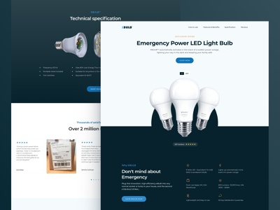 eBulb – emergency power LED animation ecommerce webflow ux layout figma product bulb dark landing page landing web design webdesign design ui
