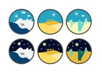 Hot (Desert) Cold (Ice-Desert) Icons