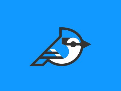 Blue jay logo bird