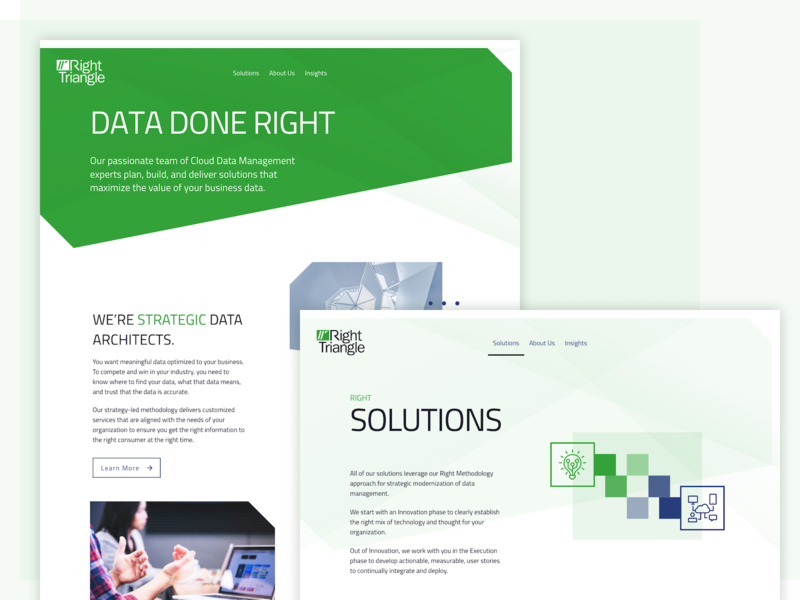 Right Triangle Rebrand business card presentation website logo rebrand