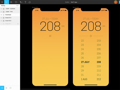 Day of the Year app concept – screens app 365 day of the year app concept figma