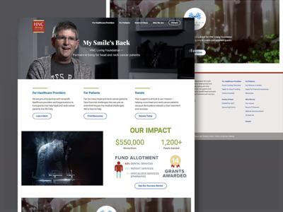 HNC Living Website nonprofit cancer screen homepage website