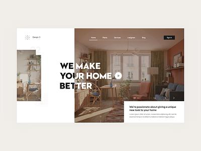 Landing page - Interior Design clean trend uidesign awsome app flat minimal inspiration decor decoration interior design design concept web landingpage